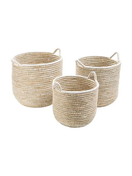 Set de cestas Stormy, Algas marinas, Beige, blanco, Set de diferentes tamaños