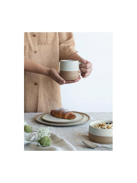 Mokken Caja in mat bruin/beige, 2 stuks, Keramiek, Bruin- en beigetinten, Ø 9 x H 9 cm