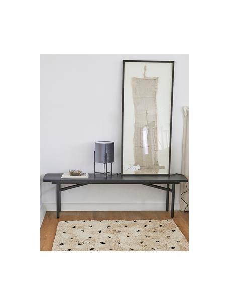 Zacht hoogpolig vloerkleed Ayana, met stippels, Bovenzijde: 100% polyester, Onderzijde: 100% katoen, Beige, zwart, B 80 x L 150 cm (maat XS)