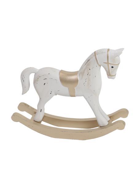 Deko-Figur Horse in Weiß H 32 cm, Mitteldichte Holzfaserplatte, beschichtet, Weiß, Beige, Goldfarben, 38 x 32 cm