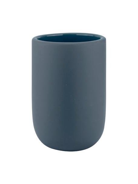 Keramik-Zahnputzbecher Lotus, Keramik, Blau, Ø 7 x H 10 cm