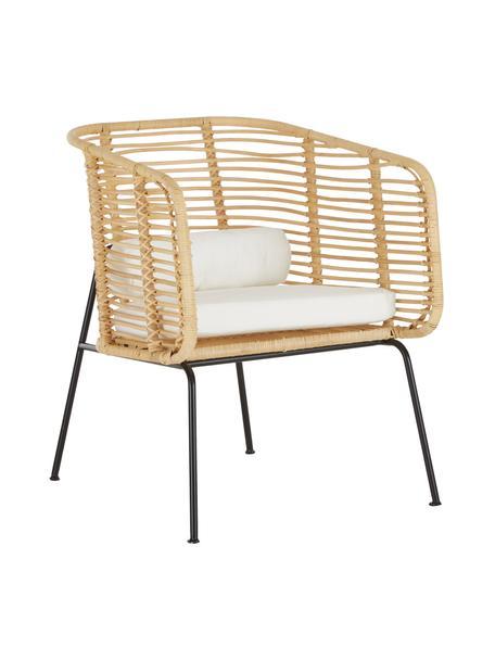 Krzesło z rattanu z podłokietnikami Merete, Siedzisko: rattanStelaż: czarny, matowyPoszewki: biały, S 72 x G 74 cm