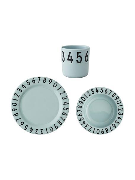 Ontbijtset Numbers, 3-delig, Melamine, Blauw, zwart, 22 x 7 cm