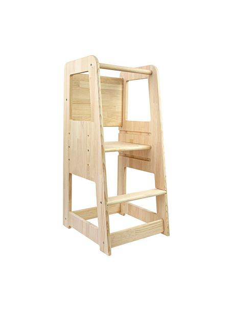 Mueble infantil en forma de torre Montessori, Madera de pino, Beige, An 40 x Al 90 cm