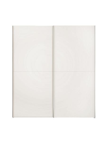 Kledingkast Oliver met schuifdeuren in wit, Frame: panelen op houtbasis, gel, Wit, 202 x 225 cm