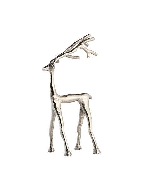 Figura decorativa artesanal ciervo Mistle, Aluminio, Plateado, An 14 x Al 27 cm