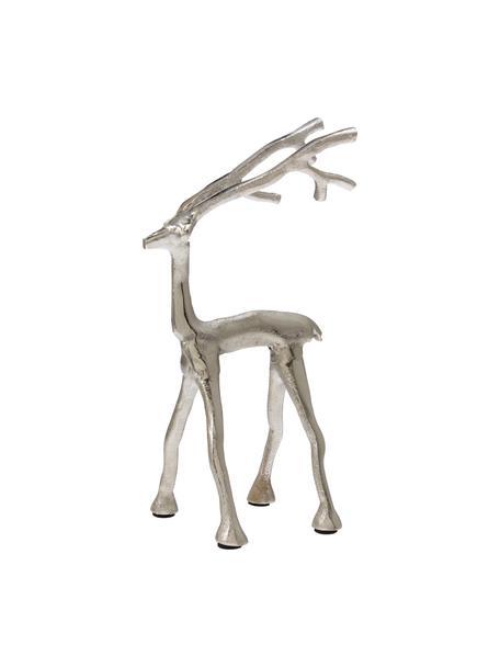 Handgefertigter Deko-Hirsch Marely H 27 cm, Aluminium, Silberfarben, 14 x 27 cm