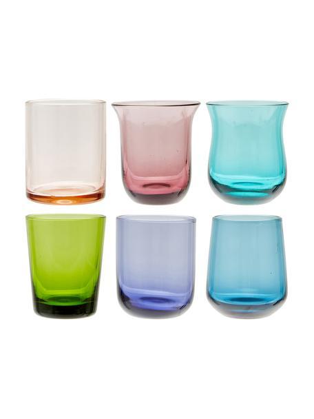 Mundgeblasene Schnapsgläser Diseguale in unterschiedlichen Farben und Formen, 6 Stück, Glas, mundgeblasen, Mehrfarbig, Ø 6 x H 6 cm