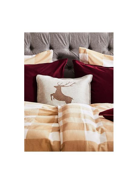 Zachte fleece kussenhoes Sylt Hert in lichtgrijs/beige, 85% katoen, 8% viscose, 7% polyacryl, Beige, 55 x 55 cm