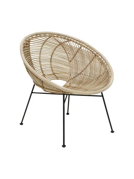 Rotan fauteuil Circles, Zitvlak: rotan, Poten: gepoedercoat metaal, Rotankleurig, B 72 x D 79 cm