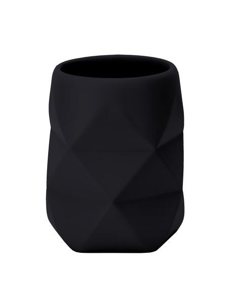 Kubek na szczoteczki z poliresingu Crackle, Poliresing, Czarny, Ø 8 x W 10 cm