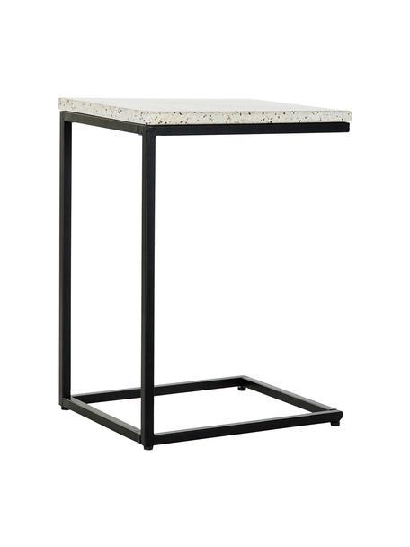 Stolik pomocniczy z metalu Pablo, Stelaż: metal lakierowany na czar, Blat: beton z lastriko, Biały, czarny, wielobarwny, S 40 x W 65 cm