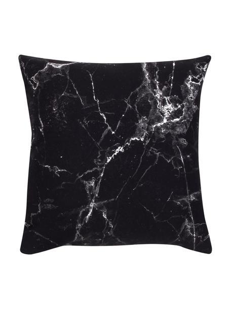 Poszewka na poduszkę Malin, Wzór marmurowy, czarny, S 45 x D 45 cm