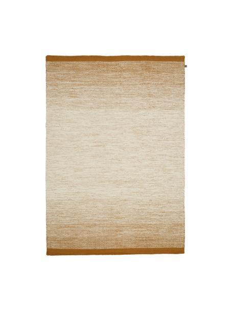Alfombra artesanal de lana Lule, 70%lana, 30%algodón, Amarillo ocre, beige, An 140 x L 200  cm(Tamaño S)