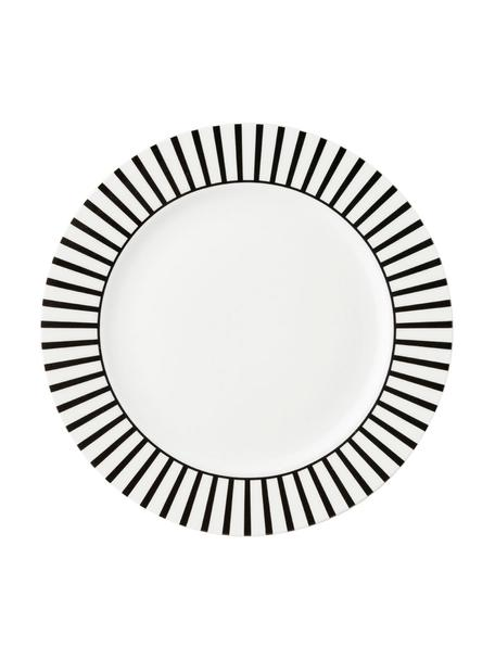 Ontbijtborden Ceres Loft met streepdecoratie in zwart / wit, 4 stuks, Porselein, Wit, zwart, Ø 21 x H 2 cm