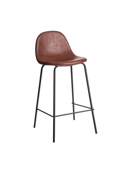 Taburete alto en cuero sintético Adeline, Tapizado: cuero sintético (poliuret, Estructura: madera curvada, Patas: metal, Marrón, negro, An 42 x Al 87 cm