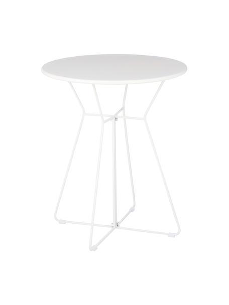 Tavolino da balcone in metallo bianco Bueno, Metallo rivestito, Bianco, Ø 60 x Alt. 70 cm