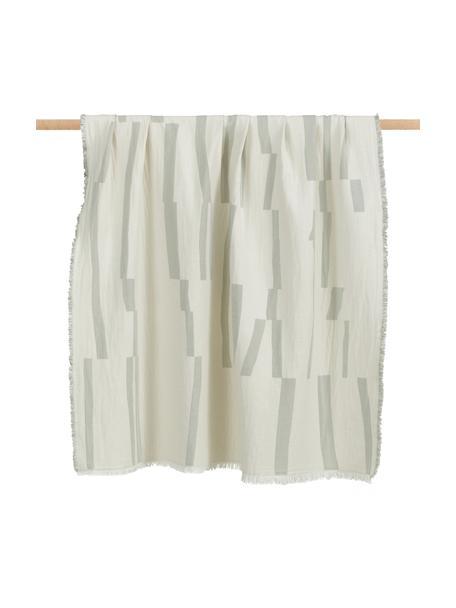 Manta de algodón con flecos Lyme, 100%algodón ecológico, Beige, verde claro, An 130 x L 180 cm