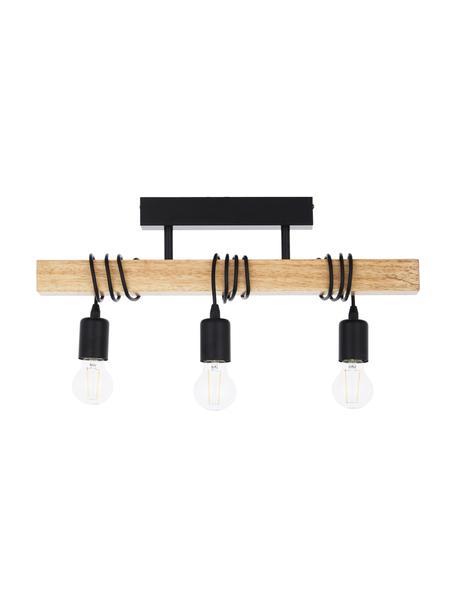 Deckenleuchte Townshend aus Holz, Baldachin: Stahl, lackiert, Schwarz, Holz, 55 x 27 cm