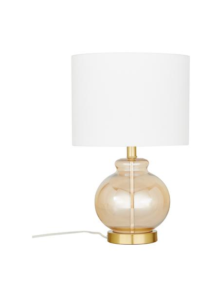 Tischlampe Natty mit Glasfuss, Lampenschirm: Textil, Sockel: Messing, gebürstet, Weiss, Bernsteinfarben, transparent, Ø 31 x H 48 cm