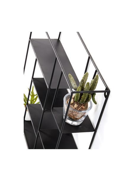 Mini metalen wandrek Nils in zwart, Gepoedercoat metaal, Zwart, 37 x 38 cm
