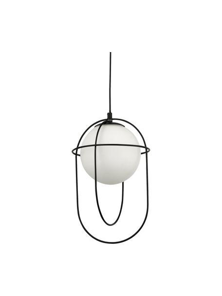 Lampada a sospensione con vetro opale Axis, Paralume: vetro, Baldacchino: metallo verniciato a polv, Nero, Ø 23 x Alt. 37 cm