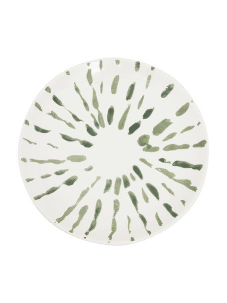 Handbeschilderde dessertbord Sparks met penseelstreek decoratie, Keramiek, Wit, groen, Ø 18 cm