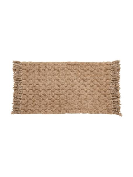 Dywanik łazienkowy z frędzlami Luna, 100% bawełna, Karmelowy brązowy, S 60 x D 100 cm