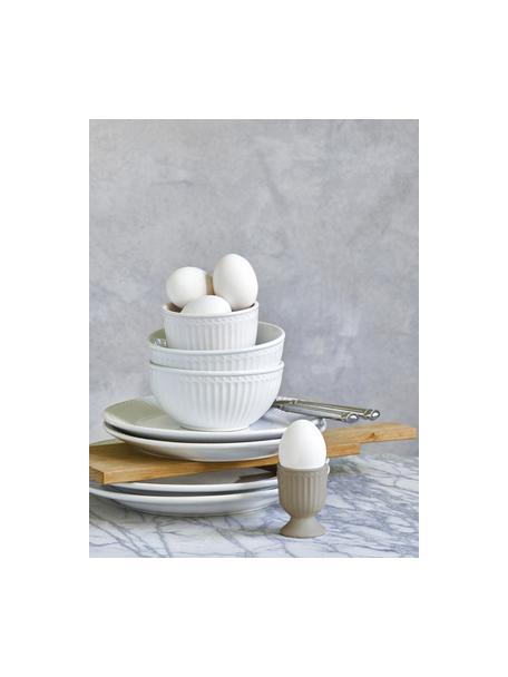 Handgemaakte eierdopjes Alice in grijs met reliëfdesign, 2 stuks, Keramiek, Grijs, Ø 5 x H 7 cm