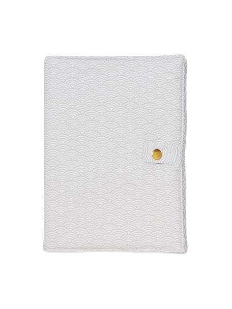 U-Heft-Hülle Wave aus Bio-Baumwolle, 100% Biobaumwolle, OCS-zertifiziert, Grau, Weiß, 15 x 21 cm