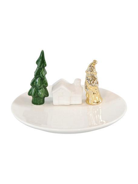 Deko-Figur Scene Ø 15 cm, Keramik, Weiß. Grün, Goldfarben, Sondergrößen