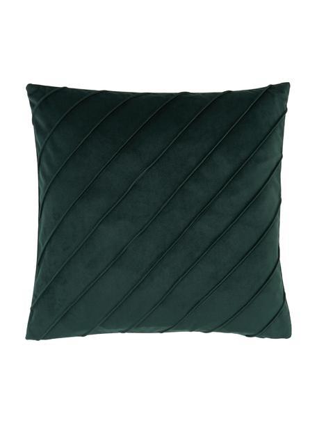 Federa arredo in velluto verde scuro Leyla, Velluto (100% poliestere), Verde, Larg. 40 x Lung. 40 cm