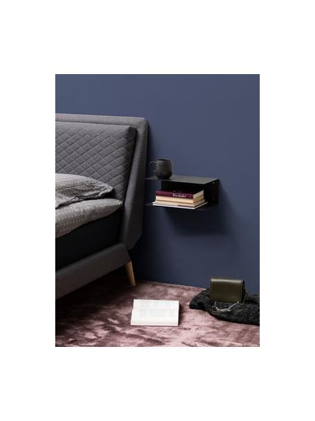 Wand-Nachttisch aus Metall Neptun, 2 Stück, Metall, pulverbeschichtet, Schwarz, 35 x 14 cm