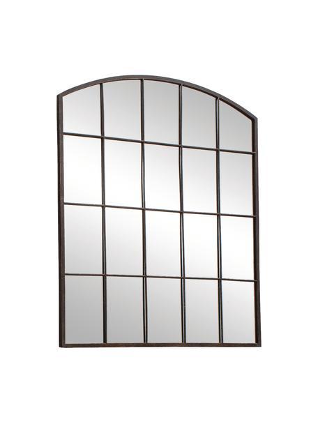 Specchio da parete con cornice in metallo Rockford, Cornice: metallo verniciato, Superficie dello specchio: lastra di vetro, Marrone scuro, Larg. 91 x Alt. 76 cm