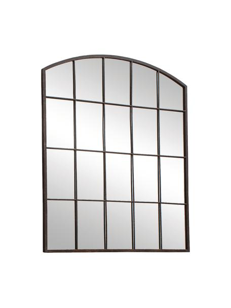 Wandspiegel Rockford mit braunem Metallrahmen, Rahmen: Metall, beschichtet, Spiegelfläche: Spiegelglas, Dunkelbraun, 91 x 76 cm