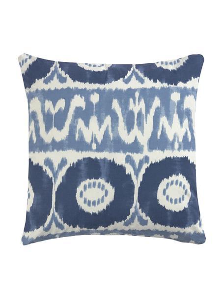 Kussenhoes Vinilo met batik print, 100% katoen, Blauw, wit, 45 x 45 cm