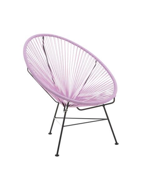 Fotel wypoczynkowy ze splotu z tworzywa sztucznego Bahia, Stelaż: metal malowany proszkowo, Lila, S 81 x G 73 cm