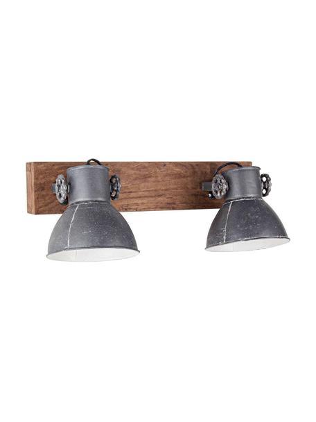Aplique Zurine, Pantalla: hierro, Gris, marrón, An 51 x Al 27 cm