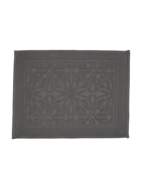 Baumwoll-Badvorleger Hammam mit Hoch-Tief-Muster, 100% Baumwolle, schwere Qualität, 1700 g/m², Dunkelgrau, 60 x 80 cm