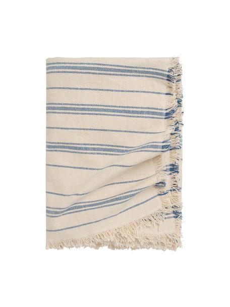 Gestreepte bedsprei Capri van katoen, 100% katoen, Crèmekleurig, blauw, B 180 x L 260 cm (voor bedden tot 140 x 200)