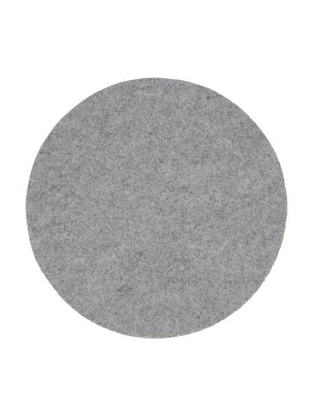 Okrągła podkładka z filcu wełnianego Leandra, 4 szt., 90% wełna, 10% polietylen, Jasnoszary, Ø 40 cm