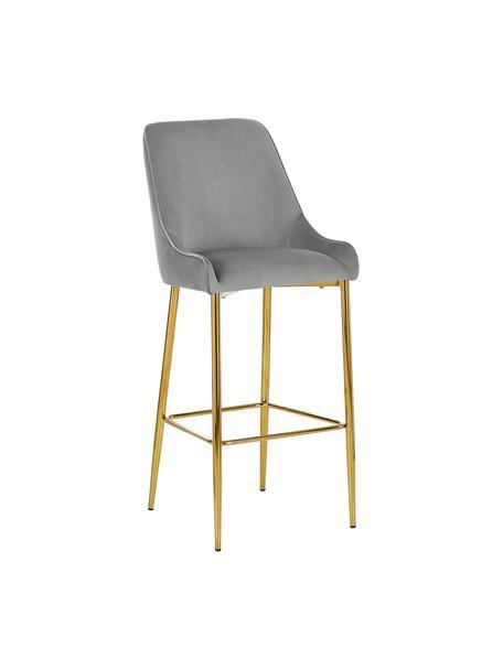 Samt-Barstuhl Ava mit goldfarbenen Beinen, Bezug: Samt (100% Polyester) Der, Samt Grau, 48 x 107 cm