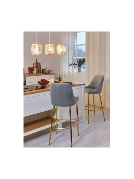 Sedia da bar in velluto con gambe dorate Ava, Rivestimento: velluto (100% poliestere), Velluto grigio, Larg. 48 x Alt. 107 cm