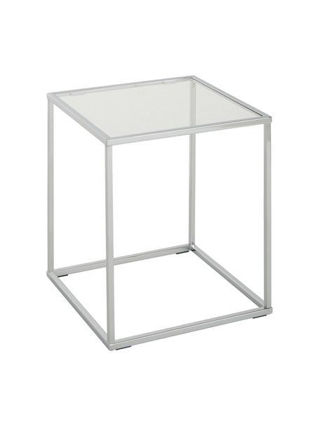 Mesa auxiliar Maya, tablero de cristal, Tablero: vidrio laminado, Estructura: metal cromado, Cromo, An 45 x Al 50 cm