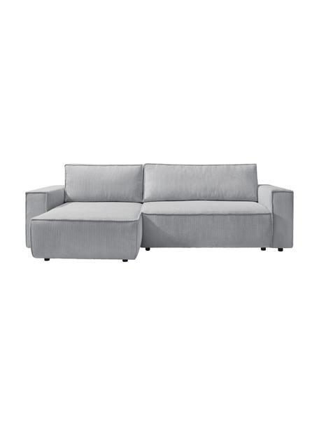 Sofá cama rinconero de pana Nihad, con espacio de almacenamiento, Tapizado: pana de poliéster, Patas: plástico, Gris claro, An 282 x F 153 cm