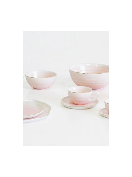 Ręcznie wykonana miska Bella, Porcelana, Blady różowy, Ø 22 x W 10 cm