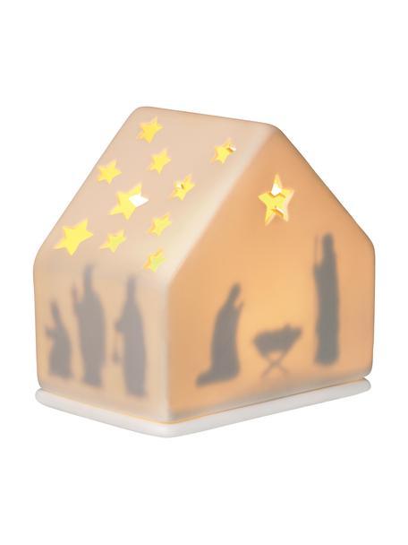 Natividad con luz de porcelana Crib, Porcelana, Blanco, An 10 x Al 10 cm