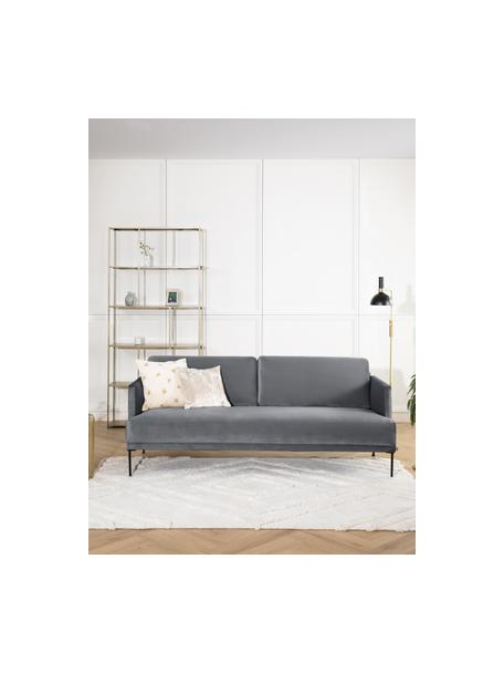 Sofa z aksamitu  z metalowymi nogami Fluente (3-osobowa), Tapicerka: aksamit (wysokiej jakości, Nogi: metal malowany proszkowo, Aksamitny szarobrązowy, S 196 x G 85 cm