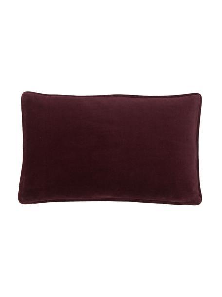 Poszewka na poduszkę z aksamitu Dana, 100% aksamit bawełniany, Burgundowy, S 30 x D 50 cm
