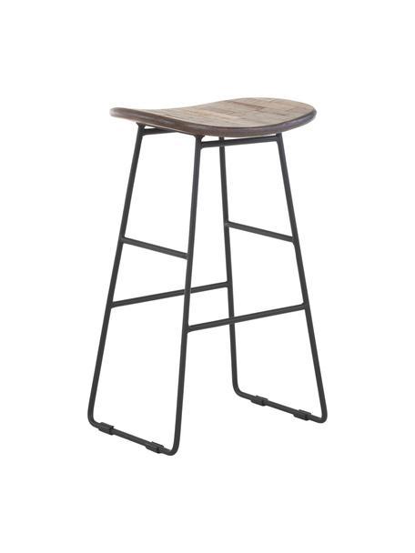 Taburete alto de teca y metal Tangle, Asiento: teca reciclada, Patas: metal con pintura en polv, Marrón, An 40 x Al 65 cm
